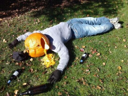 Puking pumpkin for alcohol poisoning awareness.